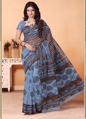 Grey Color Cotton Daily Wear Sarees : Shukriya Collection YF-31718