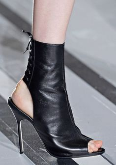 ~~Victoria Beckham Black peep-toe stiletto boots with cutout heel counter, S/S 2013 Collection~~