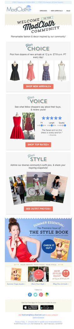 """Modcloth - Welcome to the community. There appears to be a technical glitch, where a welcome offer section only appears in the """"view in browser"""" version (and images go blank in another section). Subject line: We're delighted to have you! Here's a little intro info."""