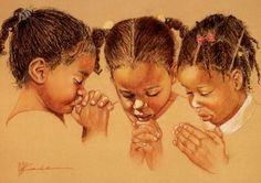 Inch Three Girl Praying African American Black Art Faith Print in People in prayer Art Black Love, Black Girl Art, My Black Is Beautiful, Black Girls, Art Girl, Black Child, African American Art, African Art, African Kids