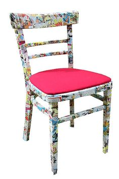 Vintage Comic Decoupage Chair  http://www.notonthehighstreet.com/1/1/181149-vintage-comic-decoupage-chair-by-bombus.html#