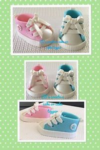Gender Reveal Converse Baby Shoes Cake Topper Baby Shower Fondant | eBay