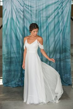 Modern Simple V-Neck Wedding Dress by PureMagnoliaCouture on Etsy