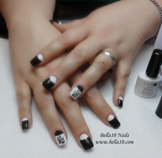 CND Brisa Gel nails with CND Shellac Black Pool and Cream Puff.  Hand painted design using Black Pool.