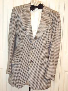 1bb3440054f 1970s Mens Black White Geometric Print Sport Coat Blazer Michaels Stern  Menswear  Spring Summer Blazer Wide Lapel   Prom Wedding Size 40-42