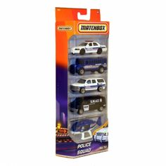 This classic Matchbox Police Squad 5 pack makes a perfect party gift with five detailed die-cast vehicles. Eye catching 3 dimensional vertical presentation gets any boy's attention on the shelf.