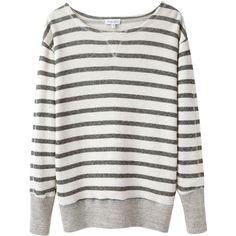 Steven Alan Dagney Sweatshirt (970 ARS) ❤ liked on Polyvore featuring tops, hoodies, sweatshirts, sweaters, shirts, long sleeves, petite, black white stripe shirt, black white striped shirt and petite long sleeve shirts