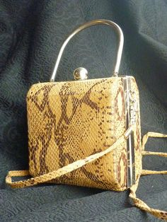 Cute vintage case purse on snake stamp leather