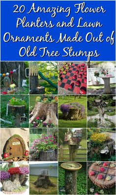 20 Amazing Flower Planters and Lawn Ornaments Made Out of Old Tree Stumps {Round-Up}