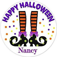 40 labels Circle Halloween witch Feet Party Stickers, Personalized Labels, Custom Party Favor Tags, Choice of Size Halloween Labels, Halloween Stickers, Halloween Fun, Party Favor Tags, Personalized Stickers, Lululemon Logo, Witch, Logos, Happy