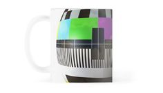 White mug with a spheric multicolor TV test pattern, referring to concepts such as geek universe, TV zapping, as well as vintage technologies / copyright: Escarpatte Universe Tv, 3d Tvs, It Works, Cool Designs, Geek Stuff, Concept, Technology, Mugs, Glasses