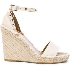 Valentino Leather Rockstud Espadrilles (€740) ❤ liked on Polyvore featuring shoes, sandals, wedges, heels, valentino shoes, wedge heel sandals, leather espadrilles, valentino sandals and platform wedge sandals