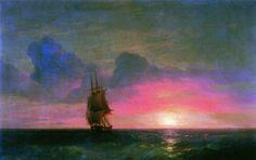 'Coucher de soleil. Un voilier solitaire', 1853 de Ivan Aivazovsky (1817-1900, Ukraine)