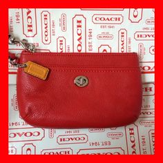 'Coach NWT Park Leather Vermillion Red Wrist Wallet' is going up for auction at  1pm Mon, Oct 21 with a starting bid of $1.