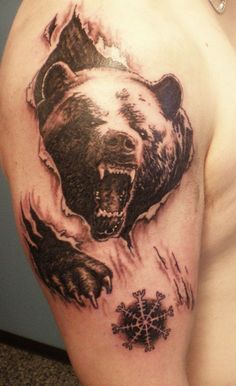 33ab21cd1 realistic black bear shoulder tattoo - Google Search Best 3d Tattoos,  Creative Tattoos, Body