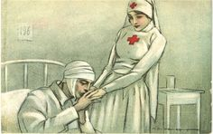 A nurse portrayed as kind companion to a wounded soldier, Italy, ca. 1916. Pictures of Nursing: The Zwerdling Postcard Collection. National Library of Medicine
