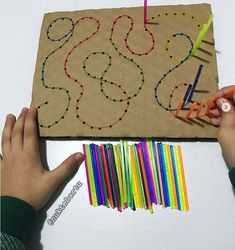 prepare toddler for handwriting activities. You make holes and then kids have toprepare toddler for handwriting activities. You make holes and then kids have to. - Easy Pin 6 Hiking Tips for Families With Toddlers Carefully C. Motor Skills Activities, Preschool Learning Activities, Infant Activities, Fine Motor Skills, Preschool Activities, Toddler Fine Motor Activities, Handwriting Activities, Kids And Parenting, Barn