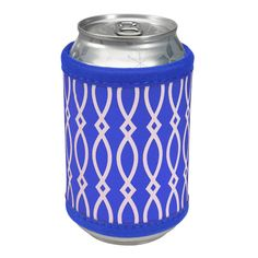 Insulated Coozie with Velcro Closure-Royal/White - Occasionally Made - Classic Gifts with a Trendy Twist!