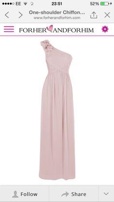One shouldered dusky pink bridesmaid dress