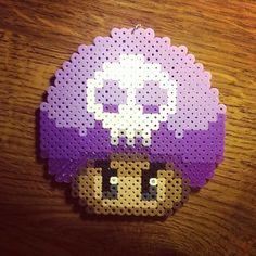 Poison Mushroom perler beads by xionshizaru Pony Bead Patterns, Hama Beads Patterns, Beading Patterns, Pixel Art, Mario Crafts, Hama Art, Perler Bead Mario, Perler Bead Templates, Peler Beads