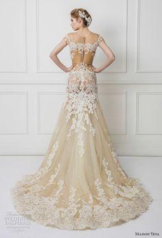 maison yeya 2017 bridal sheer short sleeves illusion jewel sweetheart neckline heavily embellished bodice elegant ivory color fit and flare wedding dress lace back chapel train (5) bv