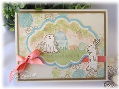Easter Card using We R Memory Keepers Cotton Tails stamps (adorable bunnies!)