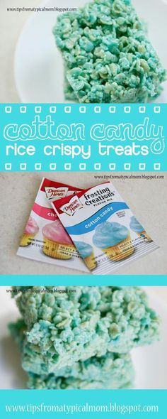 crispy treats Who doesnt love Cotton Candy! The way it melts in your mouth and turns your tongue colors! Its the best!Cotton Candy is becoming the new trend in dessert re Rice Crispy Treats, Krispie Treats, Yummy Treats, Sweet Treats, Yummy Food, Yummy Snacks, Candy Recipes, Rice Recipes, Sweet Recipes