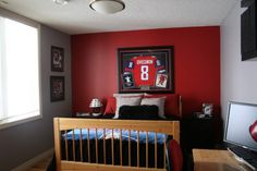 Dark red wall paint red accent wall is nicegrey needs to be much darker jake dark Boys Bedroom Paint, Boys Bedroom Decor, Bedroom Themes, Bedroom Ideas, Hockey Bedroom, Basketball Bedroom, Boy Decor, Trendy Bedroom, Design Bedroom