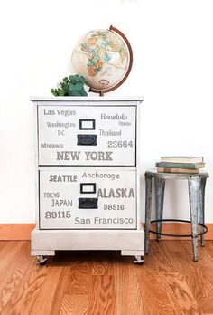 I am currently in the process of creating a travel themed room for my 9 yr old son. As a military family, we move and travel a lot. I found this $15 wood filing cabinet, at Goodwill, and decided to create a subway style word art project, representing our travels.I wanted the words to represent places my son has visited or lived. I am going to show you how I accomplished this by using paint and stencils.before Bar Stool Makeover, Cabinet Makeover, Canvas Home, Diy Canvas, House Canvas, Stencil Diy, Stencils, Picket Fence Panels, Installing Laminate Flooring