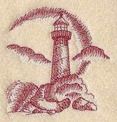Lighthouse Beach Scene (Toile) design (D6046) from www.Emblibrary.com