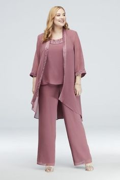 132a41c90e661 Chiffon Plus Size Pantsuit with High-Low Jacket Style 25799