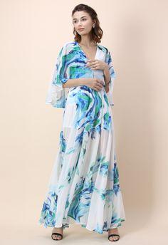 Blue Enchantress V-neck Maxi Dress - New Arrivals - Retro, Indie and Unique Fashion