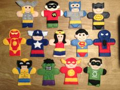 Super Hero Felt Finger Puppets - Set of 13 - FREE SHIPPING