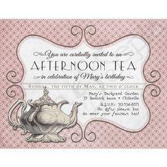 Printable Tea Party Birthday Invitation - 4.25 x 5.5 - Antique Teapot - Pink, Grey