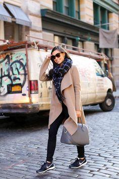 Weekend Vibes - Harris Wharf London coat // Rag & Bone scarf Paige Denim jeans fall winter look // Current/Elliott tee // Nike sneakers Givenchy bag // Celine sunglasses Friday, December 2015 Milan Fashion Weeks, New York Fashion, Teen Fashion, Paris Fashion, Runway Fashion, Fashion Models, Winter Fashion, Fashion Trends, Fashion Black