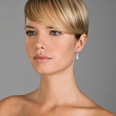 Sterling Silver Pendant Earrings with Cubic Zirconium Detail