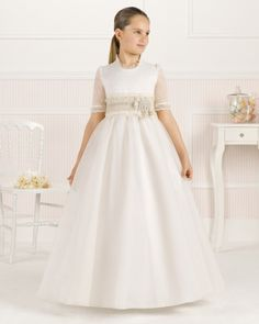 9O120 vestido de comunión corte evasé