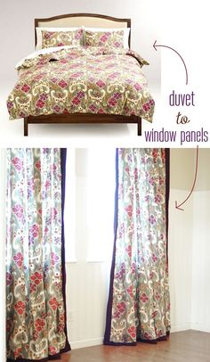 turn+a+duvet+into+window+panels