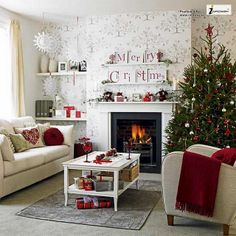 Small living room with Christmas tree and decorations