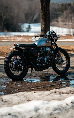 The snow is melting, warmer days ahead 🙃 Cafe Racer Motorcycle, Motorcycle Gear, Triumph Motorcycles, Vintage Motorcycles, Cb750 Cafe Racer, Bike Photoshoot, Honda Cb750, Thoughts, Vehicles