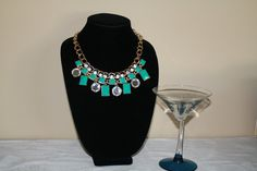 Rhinestone/Turquoise Collar Necklace #collar #gold #jewelry #necklace #pretty #statement #turquoise  40% off orders over $50.  Free shipping and handling orders of $25 or more.  #Christmas #Present  www.ceesquared.ca