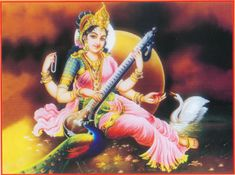 "Sarasvati. In Hinduism Saraswati is the goddess of knowledge, music, arts, science and technology. She is the consort of Brahma, also revered as His Shakti.  The name Saraswati came from ""saras"" (meaning ""flow"") and ""wati"" (meaning ""she who has ...""), i.e. ""she who has flow"" or can mean sara meaning ""essence"" and swa meaning ""self"". So, Saraswati is symbol of knowledge; its flow (or growth) is like a river and knowledge is supremely alluring, like a beautiful woman. She is depicted as…"