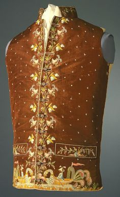 Waistcoat, 1780–95, France Brown silk waistcoat with a standing collar and welt pockets. Embroidered on center front and lower edges with floral motifs and a chinoiserie design of Chinese figures in dragon boats.