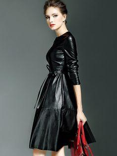 Black Round Neck Long Sleeve Tie-Waist Leather Dress -SheIn(Sheinside) Mobile Site