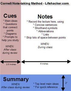 Geek to Live: Take study-worthy lecture notes (Cornell method) I will need this.