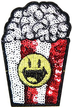 Popcorn Food Smiley Smile Happy Face Sequin Shine Shiny Patch Sew Iron on Embroidered Applique Craft Handmade Baby Kid Girl Women Sexy Lady Hip Hop Cloths DIY Costume * You can find out more details at the link of the image. (This is an affiliate link) #ArtDIYCraftsAppliquePatches