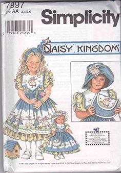 "Simplicity Daisy Kingdom Pattern 7797 / 0645 Girls' Dress, Apron, Hat, Purse and Matching Outfit for 18"" Doll"