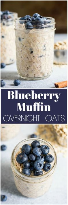 If you are a blueberry muffin fan then these simple ready to go Blueberry Muffin Overnight Oats are for you! So easy and this recipe is make ahead so you can get a good bowl of oatmeal even on a busy morning! Overnight Oats In A Jar, Blueberry Overnight Oats, Blueberry Oatmeal Recipes Breakfast, Banana Breakfast, Healthy Breakfast Recipes, Brunch Recipes, Healthy Recipes, Healthy Breakfasts, Recipes Dinner