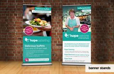 Exhibition banner stands for Hope Centre, a charity for the homeless based in Northampton.