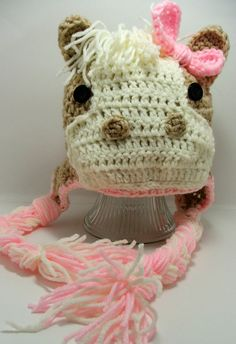 Crochet Horse Hat. Pink. Animal Hat. Pink Horse. Bead Gs by BeadGs, $20.00